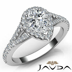 Sparkling Pear Diamond Engagement Halo Pave Set Ring GIA F VVS2 Platinum 1.21Ct