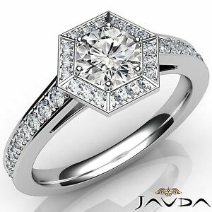 Round Diamond Engagement GIA D VS2 Platinum 950 Hexagon Halo Pave Set Ring 1ct