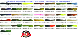 Mizmo Tubes Teaser 2.75 Inch Soft Plastic Bass Tube Baits Any Color 12 Count Pk