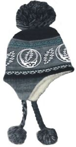 New Charcoal Gray Grateful Dead Knit Steal Your Face Adult Laplander Hat Winter