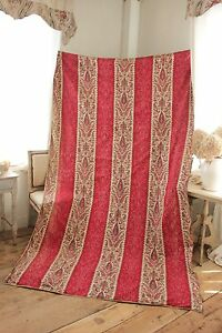 Turkey Red c 1850 Indienne large scale French fabric hand block print curtain