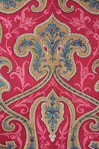 Turkey Red c 1850 Indienne large scale French fabric hand block print material ~