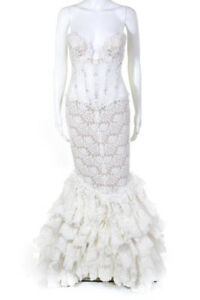 Pnina Tornai for Kleinfeld White Lace Strapless Tiered Trim Wedding Dress Size 6