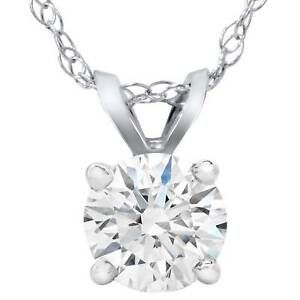 Big 58ct Round Natural Diamond Solitaire Pendant Necklace 14K White Gold