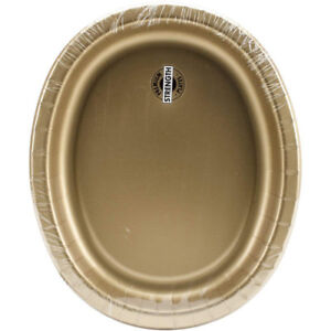 8 Count Oval Platters Glitter Gold