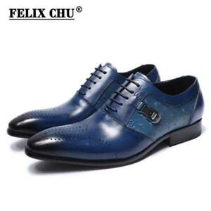 FELIX CHU Italian Designer Print Genuine Leather Men Oxford Dress Shoes Male Par
