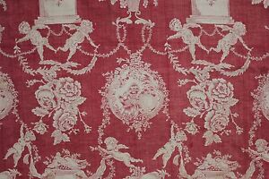 Normandy Toile French antique panel c 1775 hand wood block printed red fabric