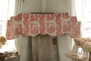 Toile de Jouy Valance Antique French 18th century block print c1780 bed textile