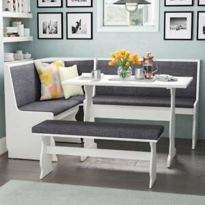 Dining Set Nook 3 pc Gray White Top Breakfast Corner Booth Bench Kitchen Table