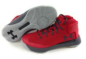 NEW Boys Girls Kids Youth Under Armour UA Curry 3Zero Red Grey Sneakers Shoes $79.99