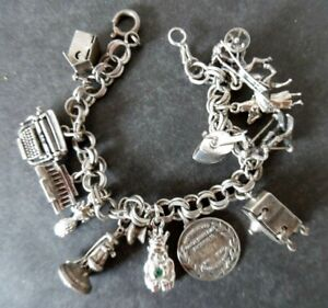 Vintage Sterling Silver Charm Bracelet 1.6 Ounces 12 Charms - 5 are Mechanical