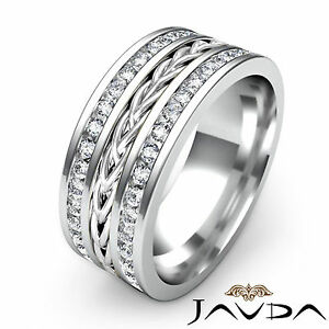 Rope Design Eternity Mens Wedding Ring Pave Diamond 9.5mm Platinum Band 1.75Ct
