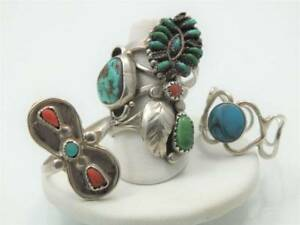 VTG NAVAGO NATIVE AMERICAN TURQUOISE CORAL STERLING SILVER PETIT POINT RING ZUNI
