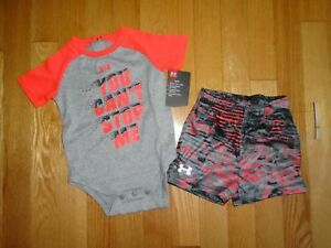 Under Armour Baby Boys 2 Piece Shorts Bodysuit Set Outfit Toddler 3M 6M NWT