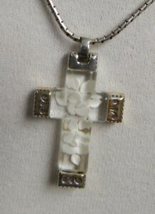 Brighton Cross White Floral Acrylic Necklace Pendant