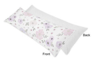 Polka Dot Lavender Purple Pink Grey Watercolor Floral Body Pillow Case Cover
