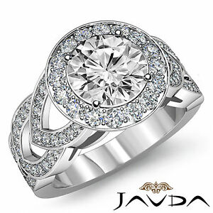 Lustrous Round Diamond Engagement EGL G SI1 Designer Ring 14k White Gold 2.25 ct