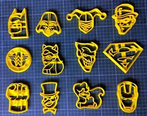 DC MARVEL CHARACTERS Lot 12 Cookie Cutter Cookie Shape - 3D Printed PLA