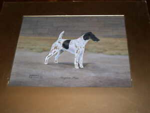 RARE SMOOTH HAIRED FOX TERRIER DOG WATERCOLOUR SIGNED 1936