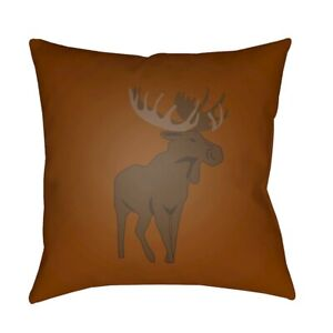 Moose by Surya Poly Fill Pillow, Brown, 18' x 18' - MOO004-1818