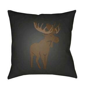 Moose by Surya Poly Fill Pillow, Gray/Brown, 18' x 18' - MOO002-1818