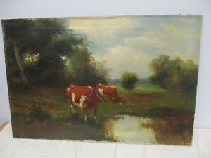 ANTIQUE SIGNED VIT.... OIL ON CANVAS PAINTING OF COWS IN PASTURE 30
