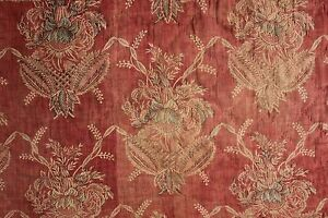 French 1700's 18th century block print valance resist dyed Indigo Blue + Red