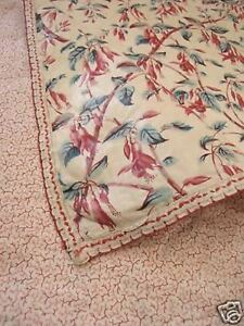 Chintz Floral Curtain Antique English block printed c1860 fushia textile