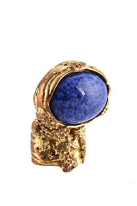 Yves Saint Laurent Womens Cocktail Ring Size 6 Arty Gold Plated Blue Glass