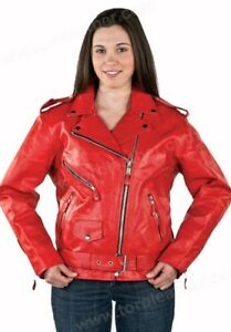 LADIES RED LEATHER SIDELACED MOTORCYCLE JACKET - NWT