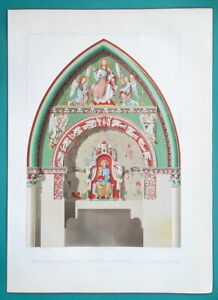 REIMS CATHEDRAL Virgin Portal Porta Pretiosa - (4) Four 1858 COLOR Litho Prints