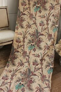 Curtain Antique French Indienne block printed bed CURTAIN 1870 AGED large scale~