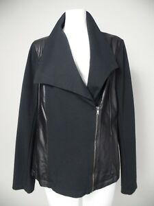 DKYN Womens Large Black Faux Leather Ponte Zip Front Collar Moto Jacket