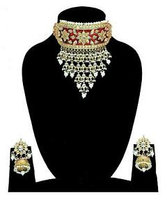 Indian Pakistan Pearl Red Choker Necklace Earrings Set Online Fashion Jewelry