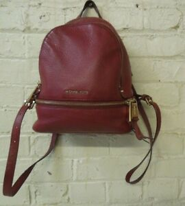 Michael Kors Red Pebbled Leather Backpack Purse ~ Pre-Owned