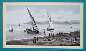 FRANCE Cannes Fishing Boats Bay of Napoule 1890s Lithograph Antique Print $24.95
