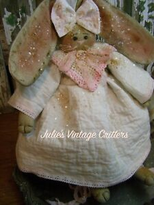 PRIMITIVE BUNNY RABBIT DOLL QUILTOLD DOILYOLD PHOTO FOLK ART BUNNY RABBIT DOLL