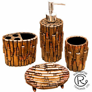 Gun Bullet Bathroom Accessories Cabin Lodge Decor Man Cave