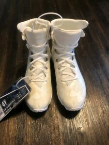 NEW UA UNDER ARMOUR HIGHLIGHT RM JR BOY GIRL 4 WHITE LAX LACROSSE CLEATS 1278779