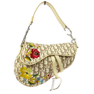 Auth Christian Dior Trotter Saddle Embroidery Hand Bag Ivory PVC Leather A41134