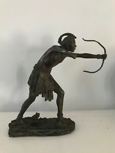 Antique Bronze Sculpture Signed African Tribesmen Hunting 1920s
