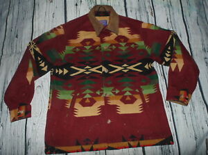 Mens Vintage Large Pendleton Western Wear Wool Coat Navajo Jacket Leather Collar