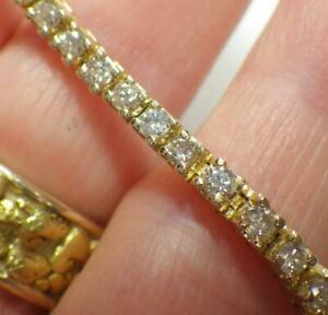 10K YELLOW GOLD 2.12 Carats Genuine Diamonds Tennis Bracelet 9.217 Grams 7.5