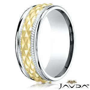 8mm Cross Hatch Rope Round Edge Carved Wedding Band Unisex 14K Two Tone Gold