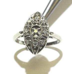 14k white gold .105ct VS1 G round diamond cluster womens ring 4.4g estate