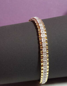 Vintage  DIAMOND TENNIS BRACELET GOLD VERMEIL OVER 925 STERLING Oroamerica OR