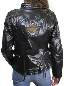 Harley-Davidson 115th Anniversary Womens Black Leather Riding Jacket 98010-18VW