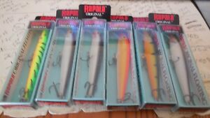 Lot of 6 New Rapala Original Floating F-9 Fishing Lures  4 colors