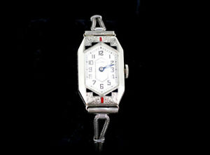 Antique Deco Illinois Etched 14K White Gold Filled Black Red Enamel Ladies Watch