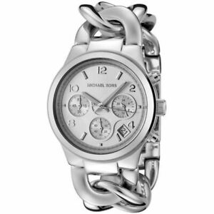 Michael Kors MK3149 Runway Silver Chain Bracelet Wrist Watch for Women